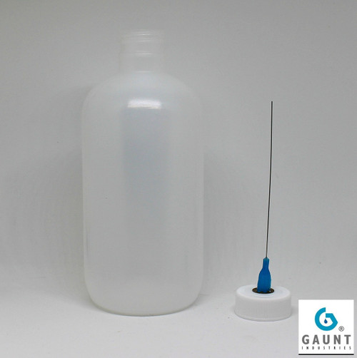 "HYPO-208*3 Extra long needle Oil Applicator 8 Ounce LDPE Natural Plastic Bottle with 25 gauge x 3"" extra long stainless steel needle"