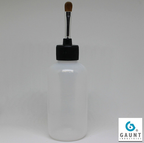HYPO-FT16*4LL24 Flow Through Paint Brush Applicator 4 Ounce Clear LDPE Boston Round Plastic Bottle with 16 gauge flow through needle / Red Sable brush, one Luer Lock black cap, and one white cap