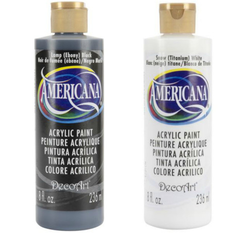 DecoArt Americana Acrylic Paint Including (1) 8 ounce Black & (1) 8 ounce White bottle