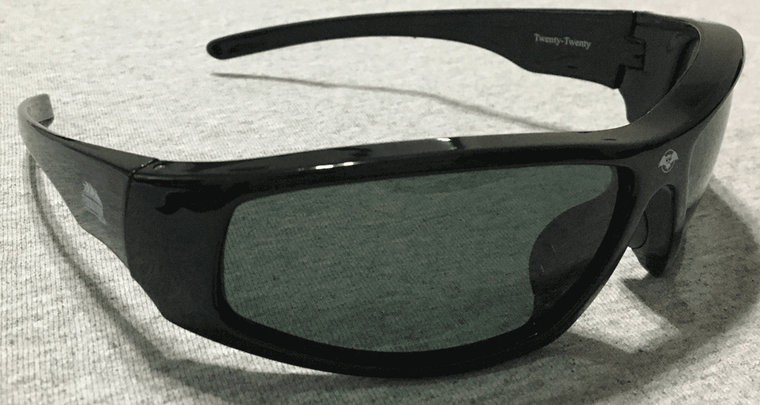 20/20 model shown in black frame with gray lenses. Also comes in white frames and Amber lens is a chose on either as well.