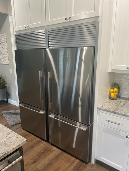 Fisher Paykel refrigerators with trim kits installed