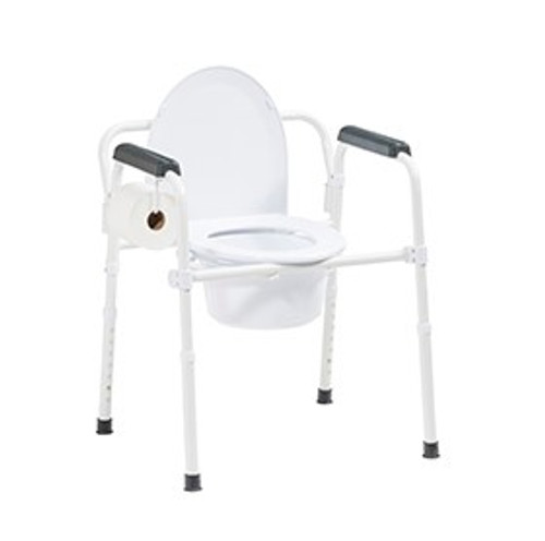 Steel Folding Deep Seat Bedside Commode, White (11148nw-1)