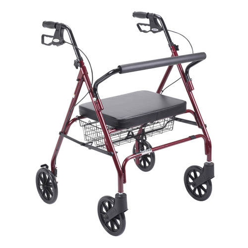 Heavy Duty Bariatric Red Rollator Walker with Large Padded Seat - 10215rd-1| Free Shipping, Quick Delivery