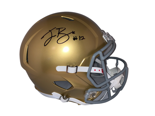 Ian Book Authentic Autographed Notre Dame Full Size Speed Replica Helmet - Beckett COA