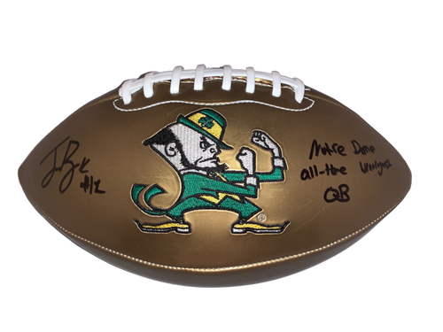 """Ian Book Authentic Autographed Notre Dame Gold Football w/ """"ND All Time Winningest QB"""" - Beckett COA"""