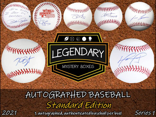 SHIPS 6/1: Legendary Mystery Boxes Autographed Baseball - Standard Edition 2021 Series 1 Hobby Box
