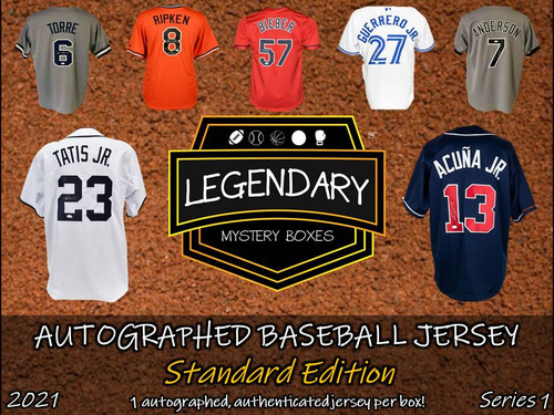 SHIPS 6/1: Legendary Mystery Boxes Autographed Baseball Jersey - Standard Edition 2021 Series 1 Hobby Box