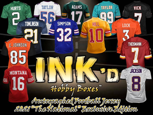 """INK'd Autographed Football Jersey - 2021 """"The National"""" Exclusive Edition Hobby Box"""