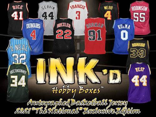 """INK'd Autographed Basketball Jersey - 2021 """"The National"""" Exclusive Edition Hobby Box"""