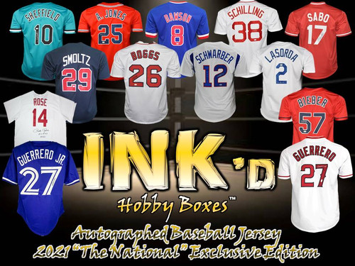 """INK'd Autographed Baseball Jersey - 2021 """"The National"""" Exclusive Edition Hobby Box"""