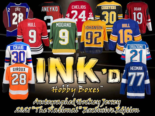 """INK'd Autographed Hockey Jersey - 2021 """"The National"""" Exclusive Edition Hobby Box"""