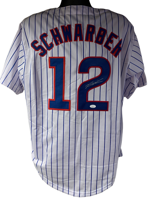 Kyle Schwarber Authentic Autographed Chicago Cubs Pinstripe Custom Jersey - JSA COA