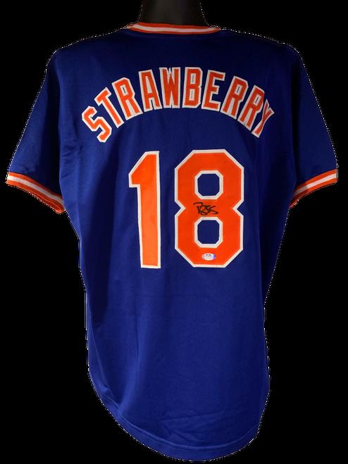 Darryl Strawberry Authentic Autographed New York Mets Blue Custom Jersey - PSA COA