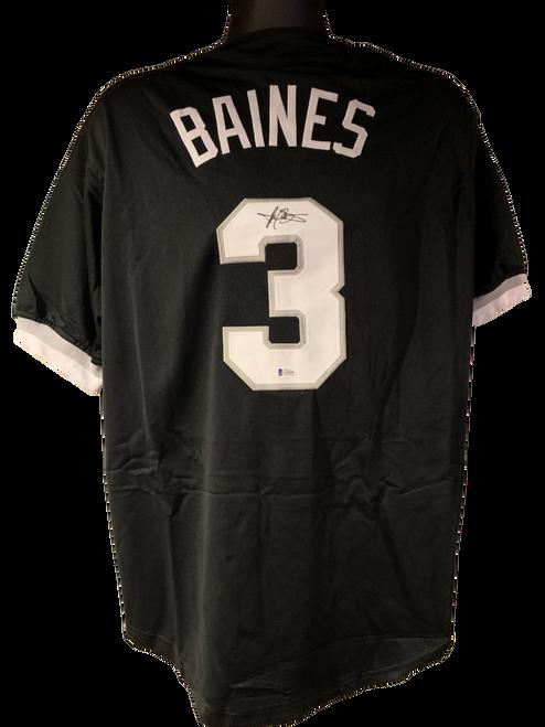 Harold Baines Authentic Autographed Chicago White Sox Black Custom Jersey - Beckett COA