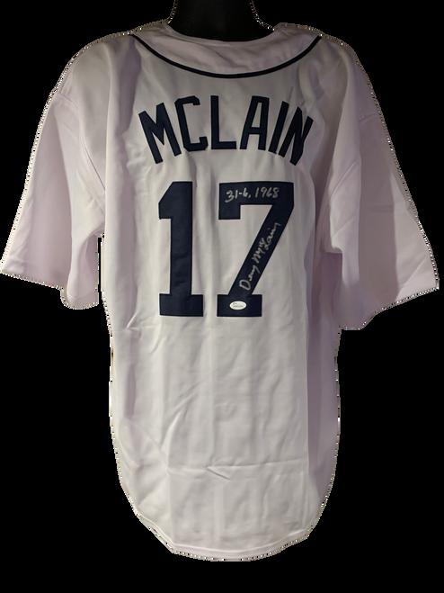"Denny McClain Authentic Autographed Detroit Tigers White Custom Jersey w/ ""31-6, 1968"" - JSA COA"