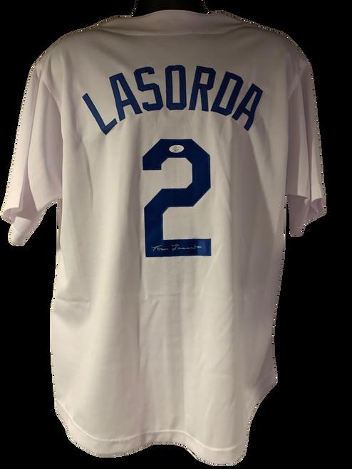 Tommy Lasorda Authentic Autographed Los Angeles Dodgers White Custom Jersey - JSA COA