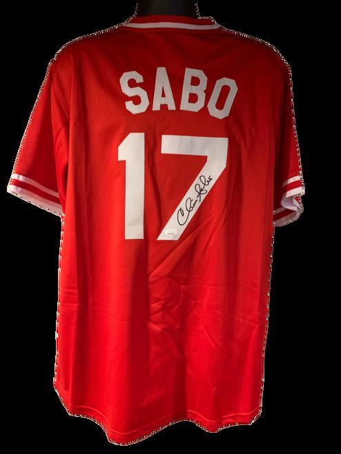 Chris Sabo Authentic Autographed Cincinnati Reds Red Custom Jersey - JSA COA