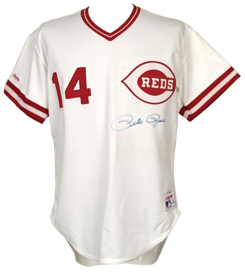 Pete Rose Authentic Autographed Cincinnati Reds White Custom Jersey - Rose Hologram