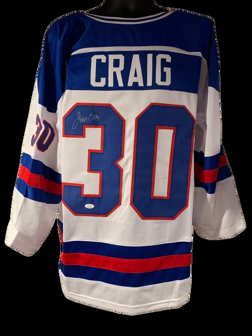 Jim Craig Authentic Autographed Team USA White Custom Jersey - JSA COA