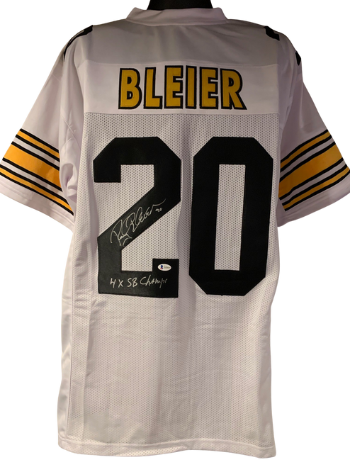 """Rocky Bleier Authentic Autographed Pittsburgh Steelers White Custom Jersey w/ """"4x SB Champs""""- Beckett COA"""