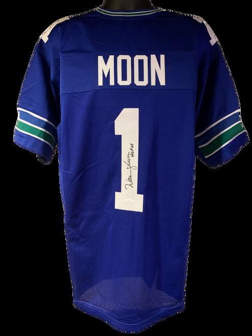 """Warren Moon Authentic Autographed Seattle Seahawks Blue Custom Jersey w/ """"HOF 06"""" - JSA COA"""
