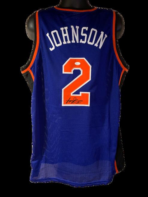 Larry Johnson Authentic Autographed New York Knicks Blue Custom Jersey - JSA COA