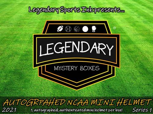 Legendary Mystery Boxes Autographed NCAA Mini Helmet - Standard Edition 2021 Series 1 Hobby Box
