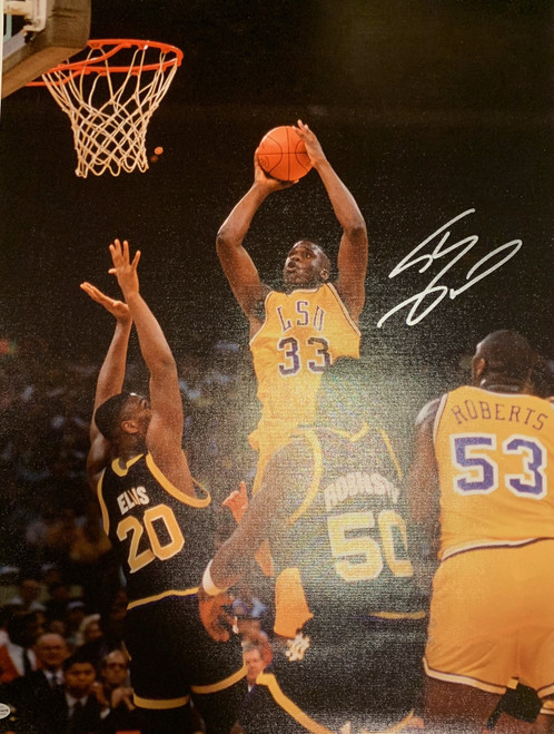 """Shaquille O'Neal Authentic Autographed LSU Tigers 18"""" x 24"""" Canvas - PSA COA"""