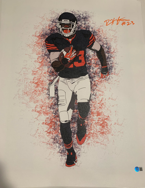 """Devin Hester Authentic Autographed Chicago Bears 18"""" x 24"""" Canvas - Beckett COA"""