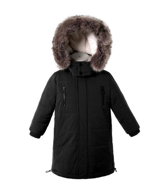 Boy Hooted Winter Jacket - Black Color
