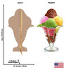 Life-size Ice Cream Sundae Cardboard Standup front and back with dimensions