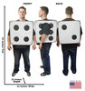 3D Dice cardboard costume with dimensions.