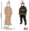 Life-size Fireman Standin Cardboard Standup back and front with dimensions.