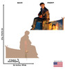 Life-size cardboard standee of the Hobo from The Polar Express. Back and front with dimensions.