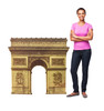 Cardboard standee of the Paris Arc de Triomphe with model.