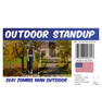 Zombie Man outdoor standee with setting, dimensions, UPC and list of items included.
