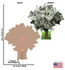 Life-size cardboard standee of a Money Tree with front and back dimensions.