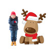 Life-size cardboard standee of Illustrated Reindeer with model.