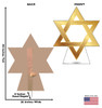 Life-size cardboard standee of Star of David. View of back and front of standee with dimensions.