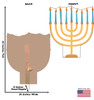 Life-size cardboard standee of Hannukkah Menora. View of back and front of standee with dimensions.
