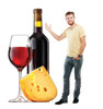 Life-size cardboard standee of Cheese and Wine with model.