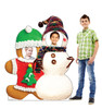 Life-size cardboard standee of Gingerbread & Snowman Stand-in with models.