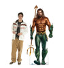 Life-size cardboard standee of the super hero Aquaman with model.