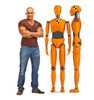 Life-size cardboard standee of Crash Test Dummies (set of two) with model.