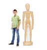 Life-size cardboard standee of a Wooden Mannequin with model.