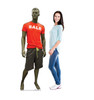 Life-size cardboard standee of a Sale Mannequin with model.