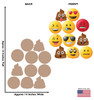 Cardboard Emoji Heads (Set of 11) with back and front dimensions.