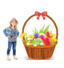 Life-size cardboard standee of an Easter Basket with model.