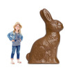 Life-size cardboard standee of a Chocolate Easter Bunny with model.