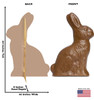 Life-size cardboard standee of a Chocolate Easter Bunny with back and front dimensions.